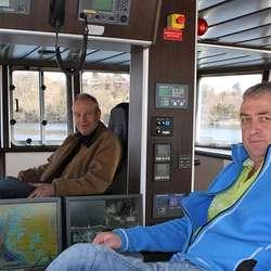 Øystein Nøss (t.v.) og Bjarte Sandtorv gjekk med båten heim frå Polen. (Foto: Kjetil Vasby Bruarøy)