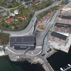 Her ser vi kor stor kai Sjøfront-blokkene står på. (Foto: KVB)