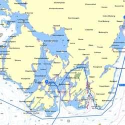 Konvoien kjem inn frå sør, til Øyane, Haugland og så til Os før retur til Bergen. (Gule Sider Sjøkart)