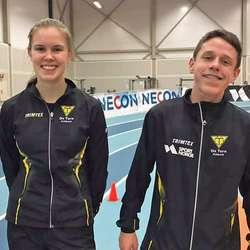 Tuva O. Klyve og Kristian Brandseth hadde begge ei god helg i Leikvang friidrettshall. (Foto: Os Turn)