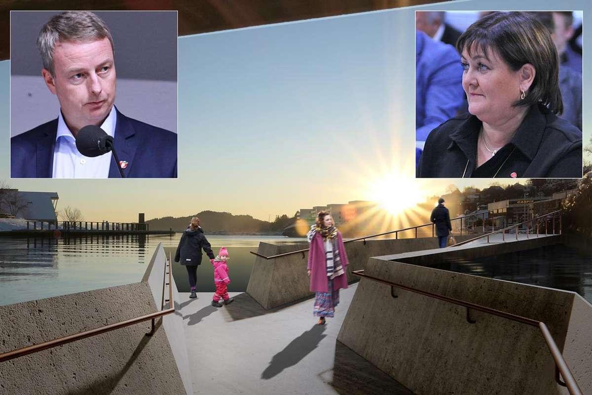 Søviknes og Lindborg fekk ei meiningsutveksling på Facebook om kostnad på ny elvepromenade. (Ill.: HLM Akritektur, foto: Kjetil Vasby Bruarøy)