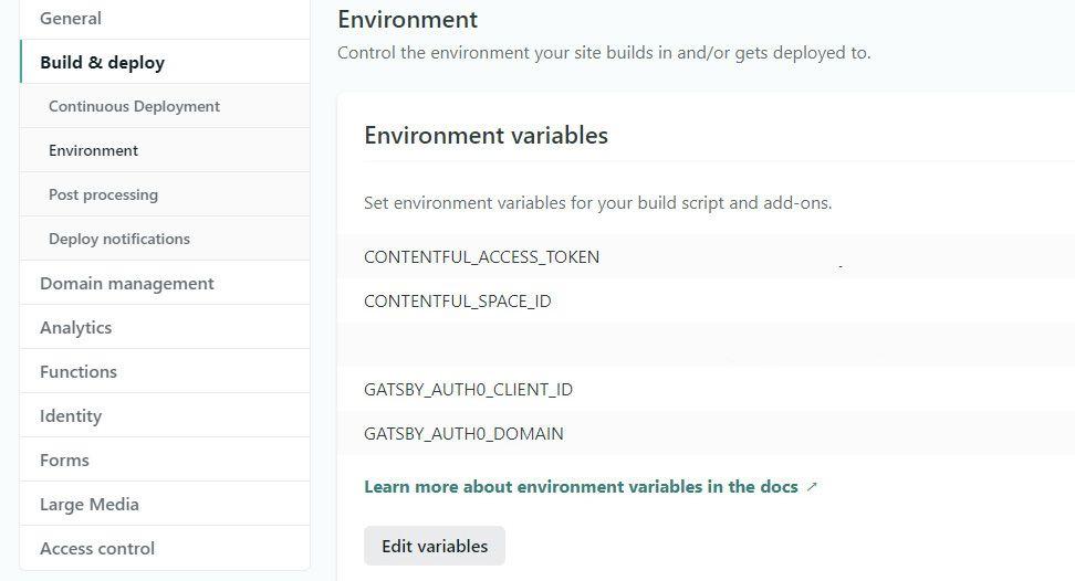 Du må legge inn alle miljøvariablene prosjektet ditt er avhengig av. Copy/paste fra .env.
