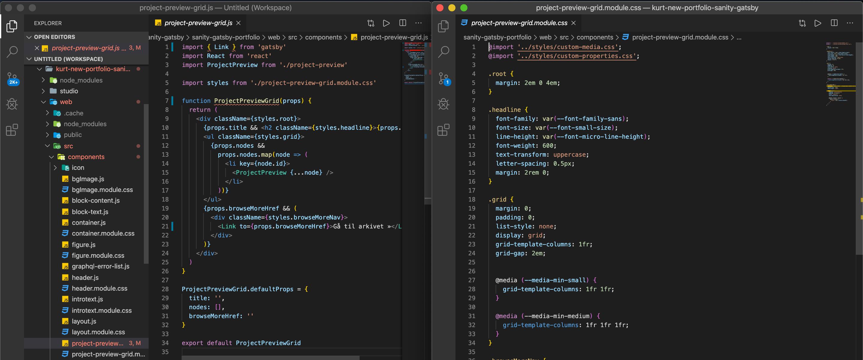 Hver .js-fil har sin tilhørende CSS Modules-fil.