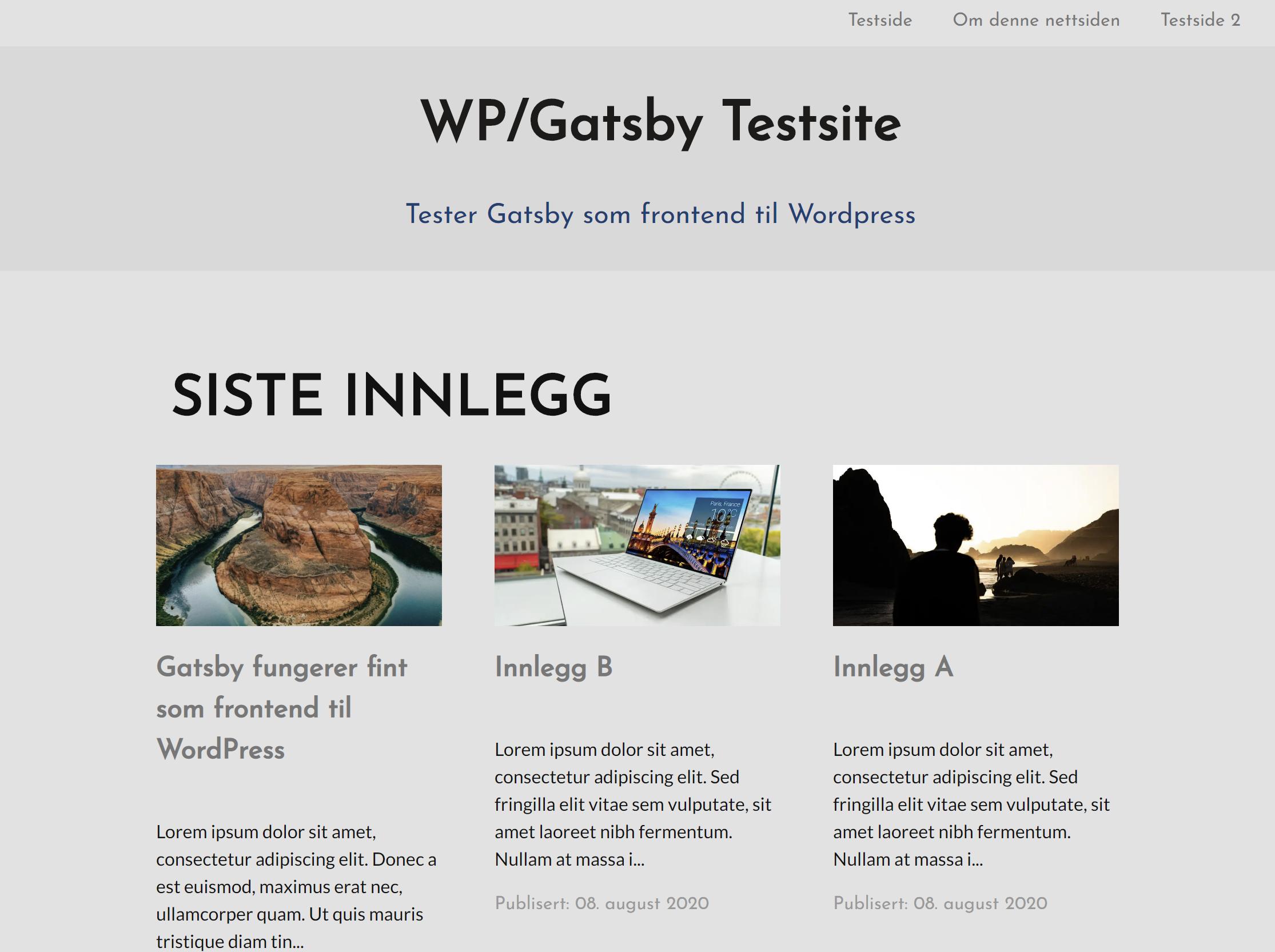 Skjermbilde som viser WP/Gatsby-nettsiden med siste innlegg.