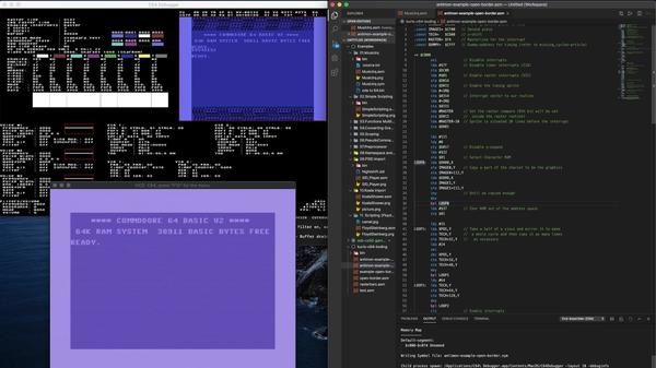 Utviklingsmiljø for 6510-programmering for Commodore 64. VS Code, KickAss assembler, Vice-emulator og 64 Debugger.
