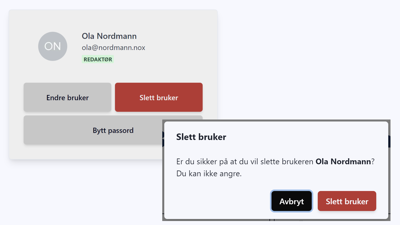 Skjermbilde: Dialogbokser for å slette bruker