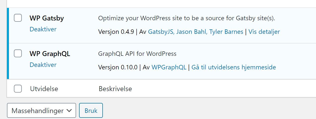 Skjermbilde viser at plugins for GraphQL er installert i Wordpress.
