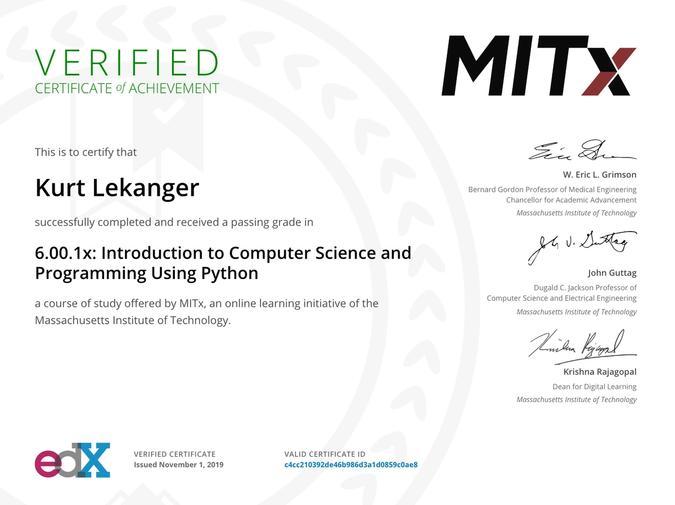 MIT 6.00.1x sertifikat