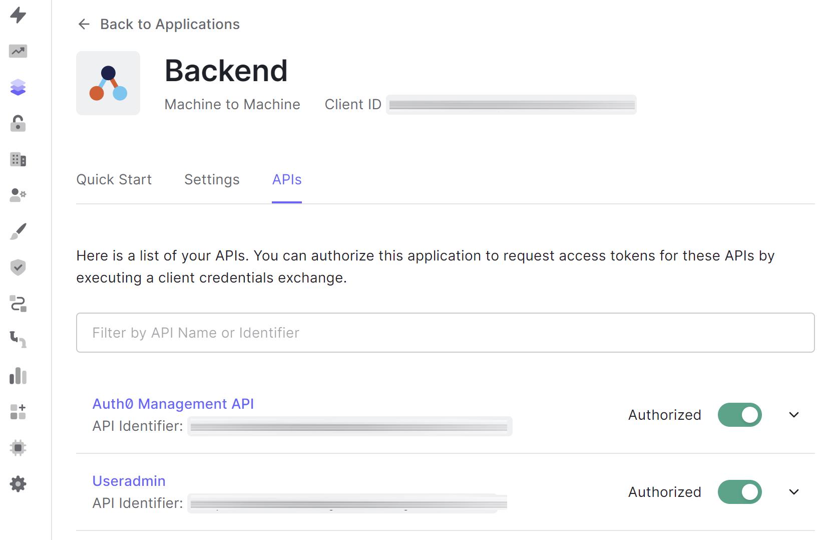 Skjermbilde som viser Auth0 Backend-applikasjonen som har fått tilgang til Auth0 Management API og Useradmin API.