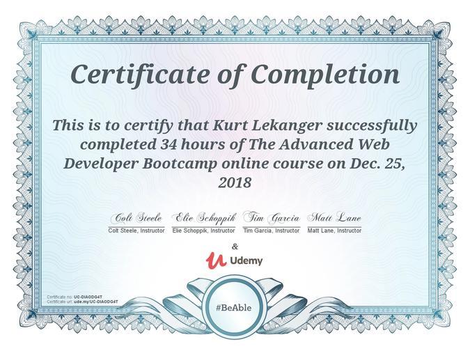 Sertifikat for advanced web developer bootcamp på Udemy.