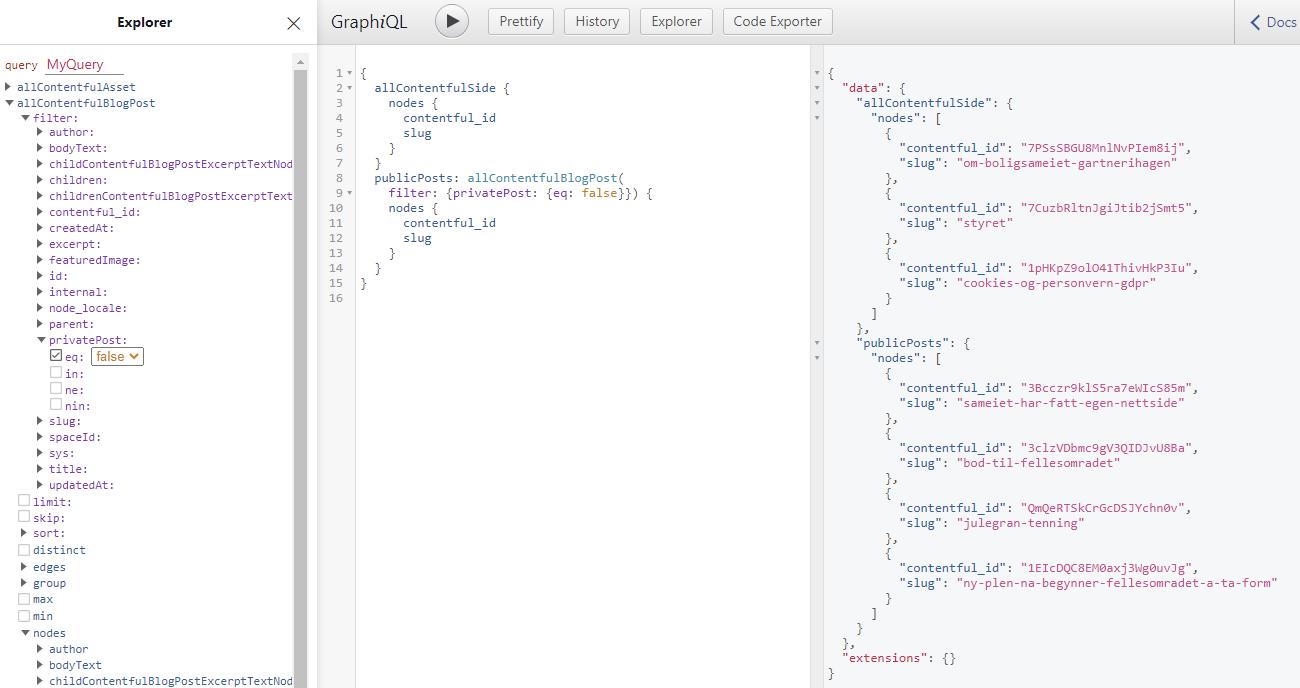 GraphiQL gir deg et enkelt og brukervennlig grensesnitt for å lage GraphQL-spørringene dine.
