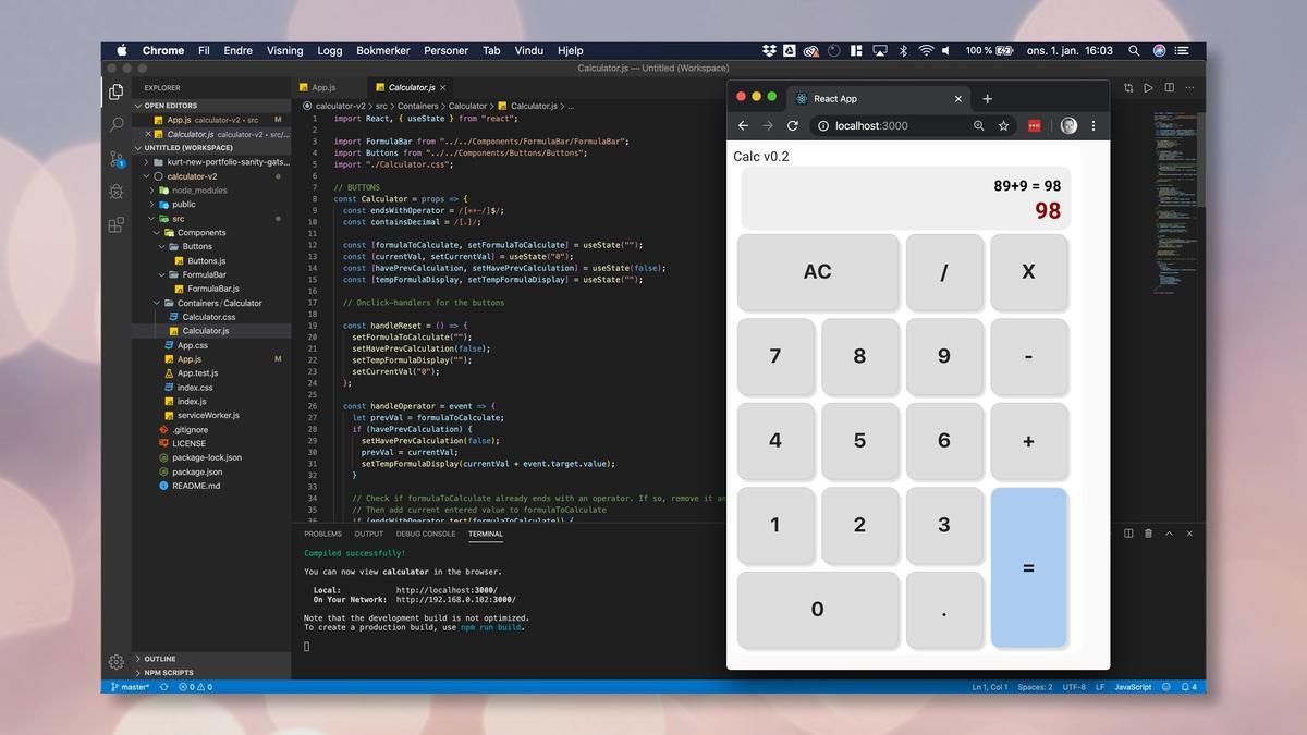 Skjermbilde som viser kildekoden til kalkulator-appen.