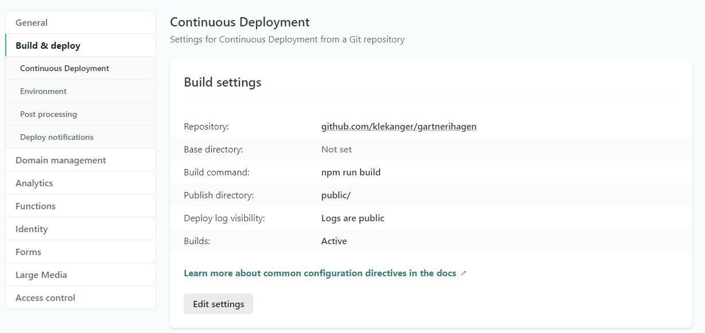 Continous deployment i Netlify.