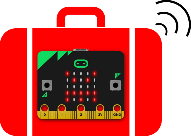 micro:bit emitting radio waves from inside a suitcase
