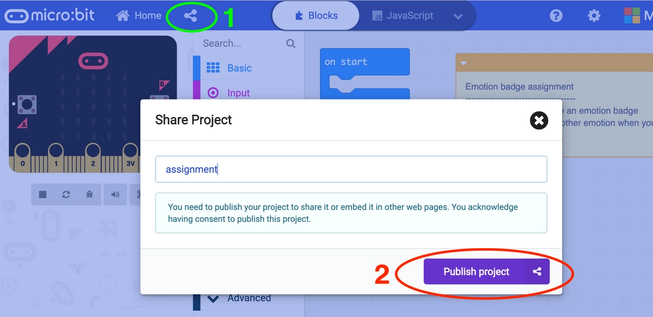 How to share a project in MakeCode