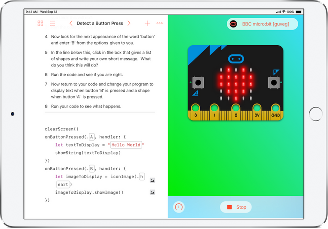 Screenshot of the micro:bit Swift Playgrounds book