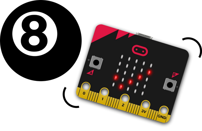 micro:bit being shaken and showing a tick on its LED display next to a magic 8 ball toy