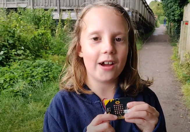Girl attending the remote micro:bit summer school