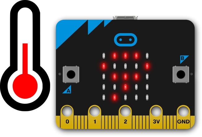 micro:bit showing number 9 next to a thermometer icon