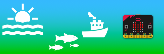 micro:bit with sea, fish and a boat