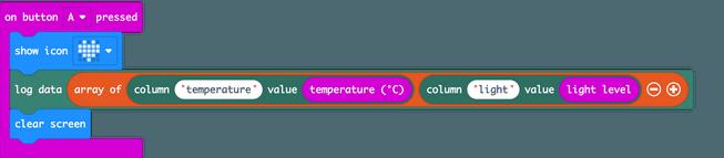 按下按鈕 A 時記錄數據的 MakeCode 塊