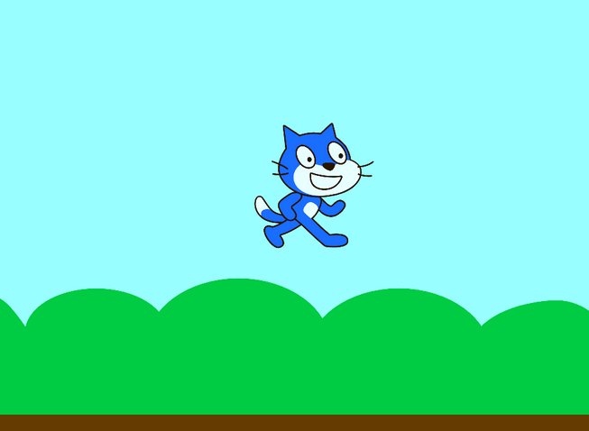 Screenshot of Scratch project - cat jumping