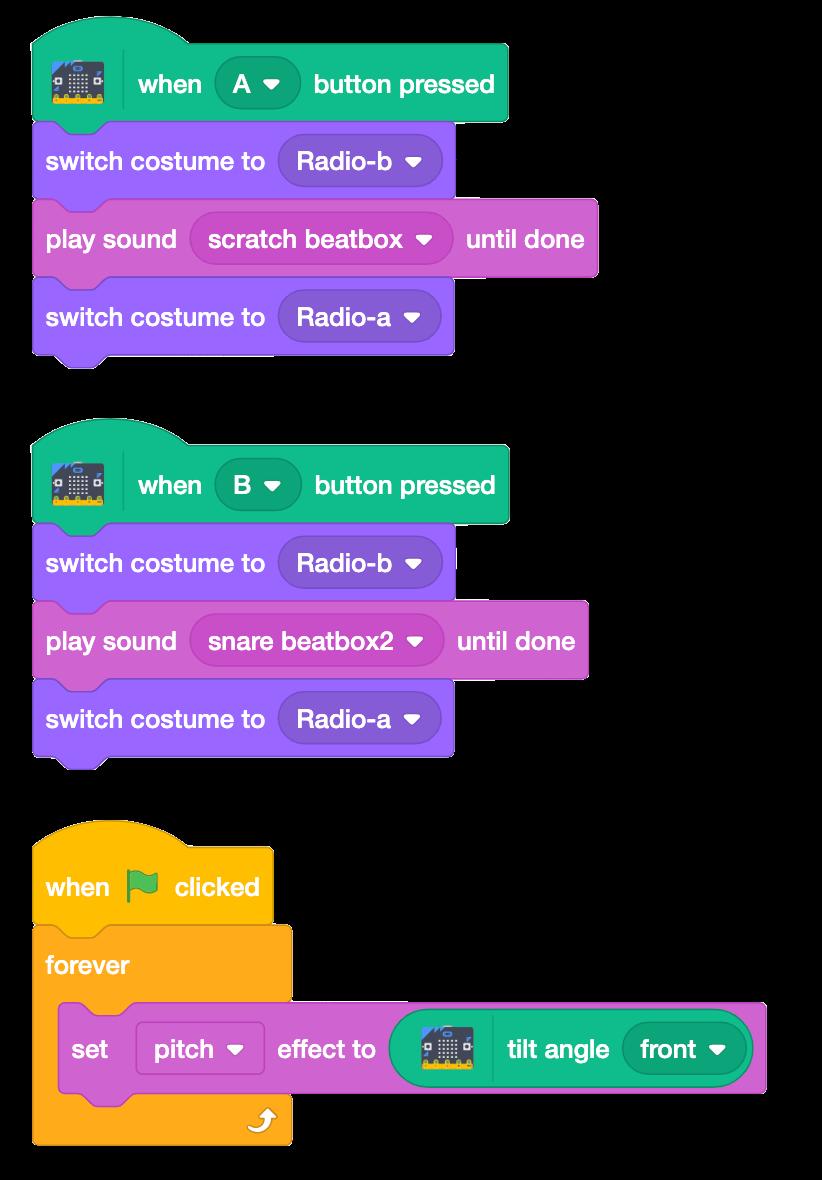 Scratch blocks to make boom-box work