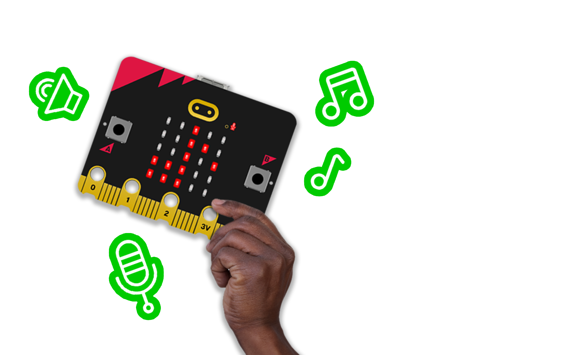 hand holding micro:bit with speaker, microphone and note icons