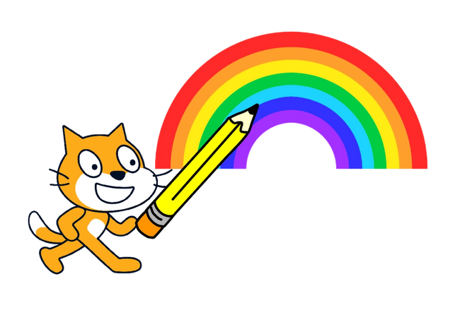 Scratch cat holding a pencil over a rainbow