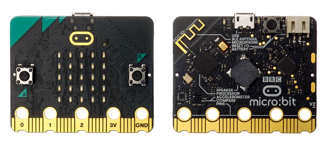 the latest BBC micro:bit up close front and back