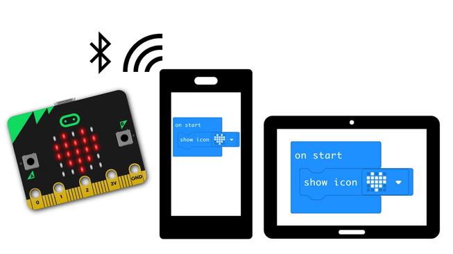 Mobile phone and tablet next to micro:bit