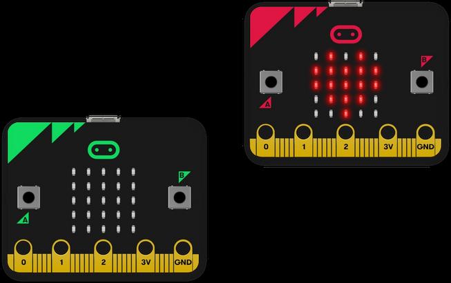 Um micro:bit enviando uma imagem de coração para outro por rádio