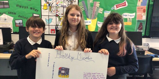 Brodie, Charley and Zoey display their plans