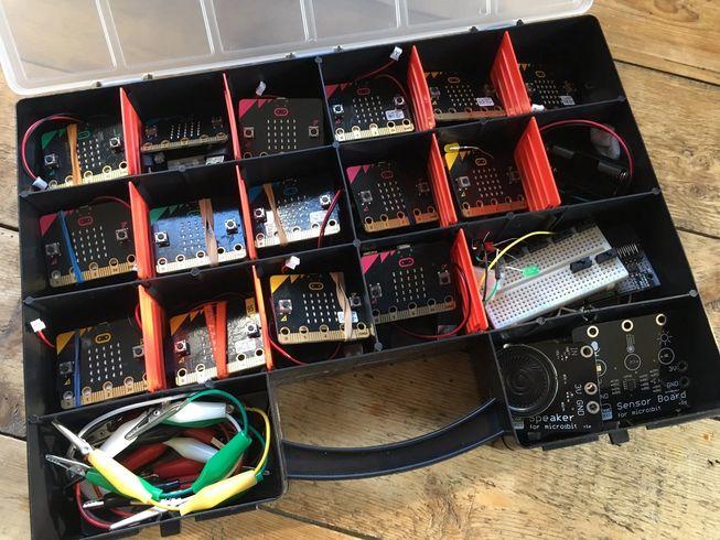 micro:bits in a cheap organiser box