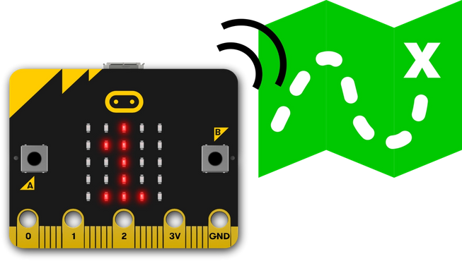A micro:bit and a treasure map
