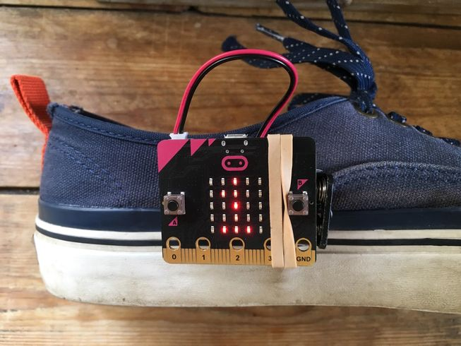 micro:bit attached to shoe