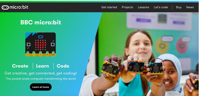 The front page of the micro:bit website