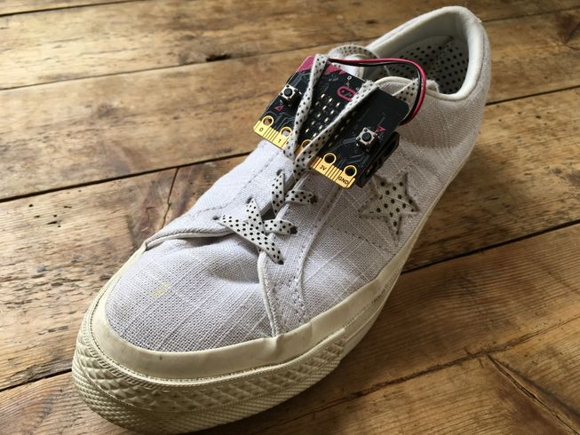 micro:bit with blank display attached to shoe