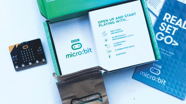 A new micro:bit being taken out of its box