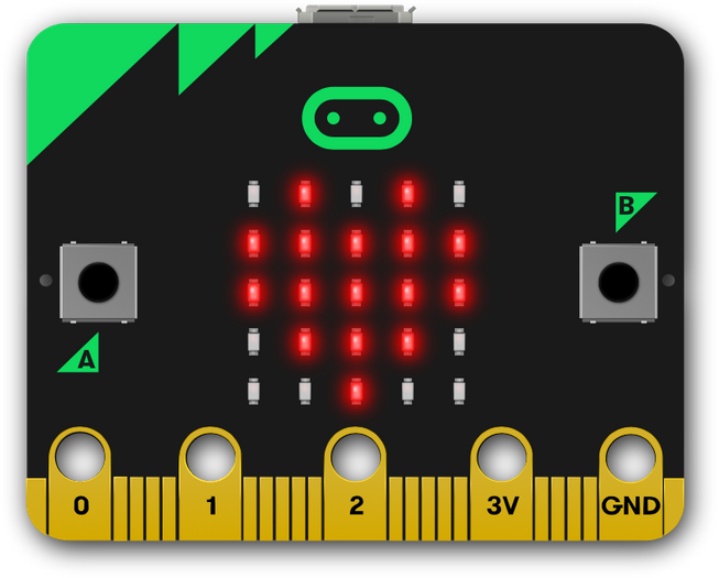 micro:bit showing heart on LED display