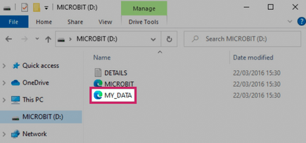 how the MY_DATA file appears on a Windows computer