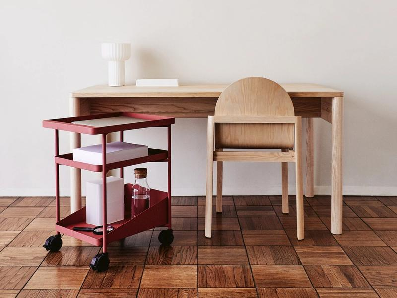 Eave Desk, Cleo Chair, Word Table Light, Barbican Play Trolley