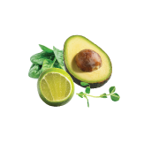 Creamy avocado with freshly picked herbs and a squeeze of lime.