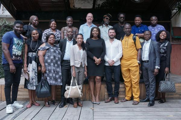 Participants of the Workshop: Setting up the Informal Justice Court, February 26th 2020 at the African Artists' Foundation, with Prof. Tunji Azeez at the center on the lower row.