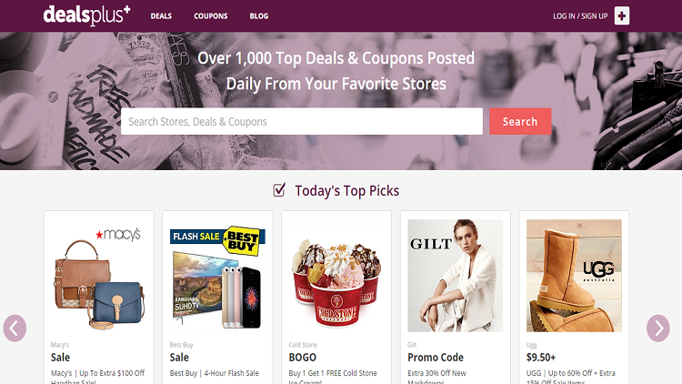 DealsPlus homepage