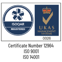 ISO Certification Logo - Certificate Number 12964, ISO 9001, ISO 14001