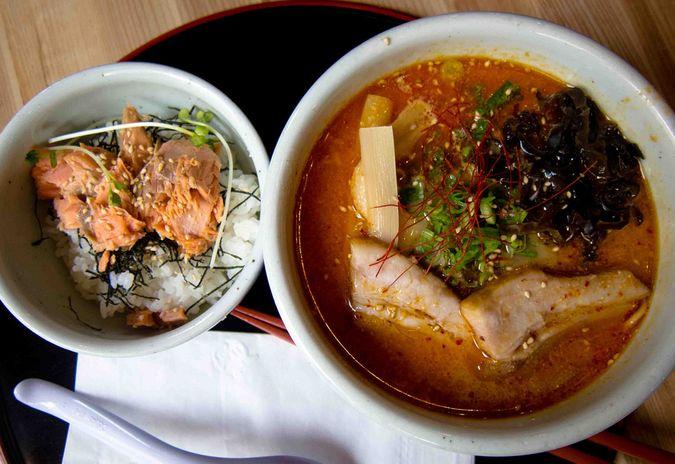 Kara Miso Ramen with Salmon Donburi