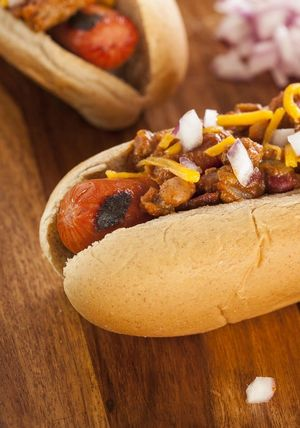Homemade Hot Chili Dog with Cheddar Cheese and Onions
