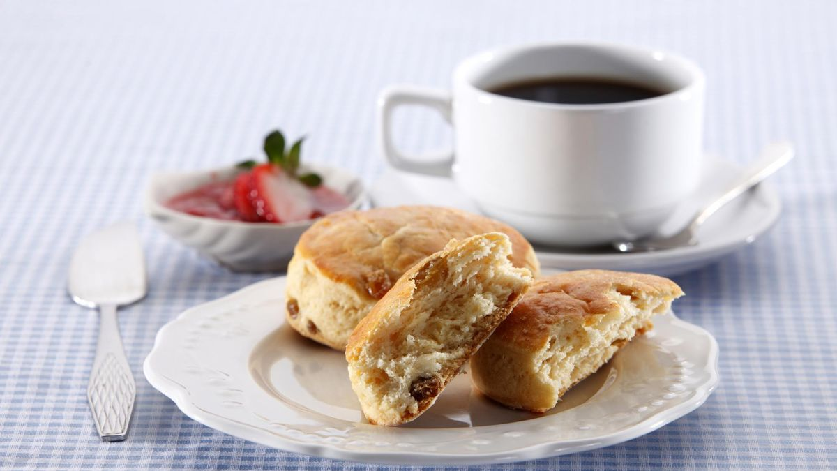 Scones with some black coffee.