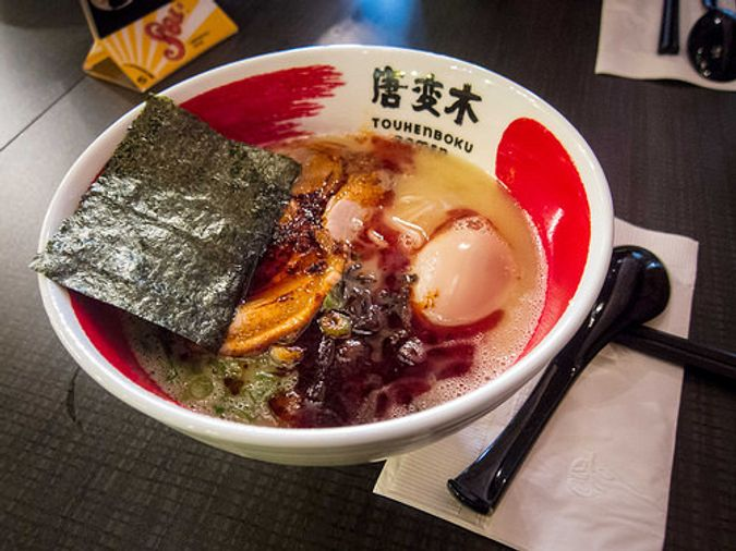 Red Ramen with Sea Salt, Thick Noodles and Pork Belly